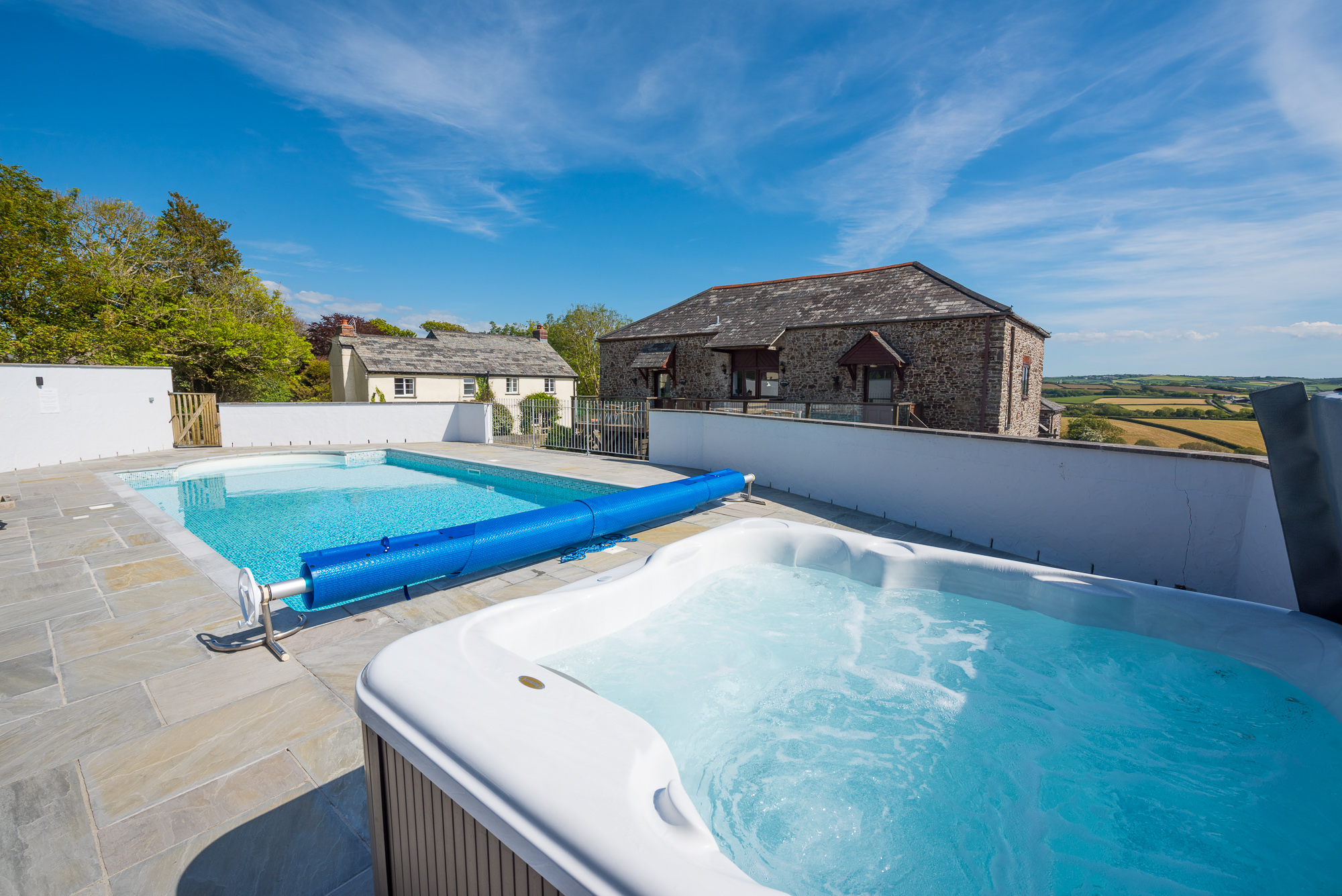 Our heated outdoor pool and hot tub.