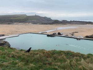 Swimmers in Bude Sea Pool in January 2020
